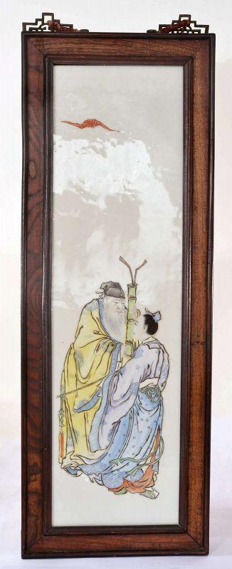 Chinese Famille Rose Porcelain Panel Scholar Old Sage Figurine Figure