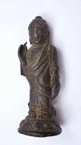 Korea Three Kingdoms Period Gilt Bronze Standing Buddha