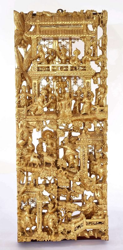 Chinese Culture Revolution Wood Gilt Lacquer Panel Ethnic Minorities