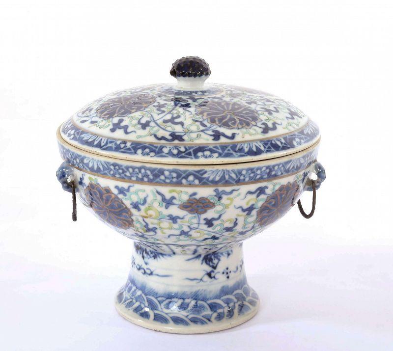 Old Chinese Gilt Famille Rose Porcelain Tureen Bowl Pot