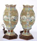 2 Old Chinese Famille Rose Porcelain Lamp Figurine Figure