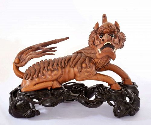 Old Chinese Boxwood Wood Carved Carving Mythical Beast 獬豸
