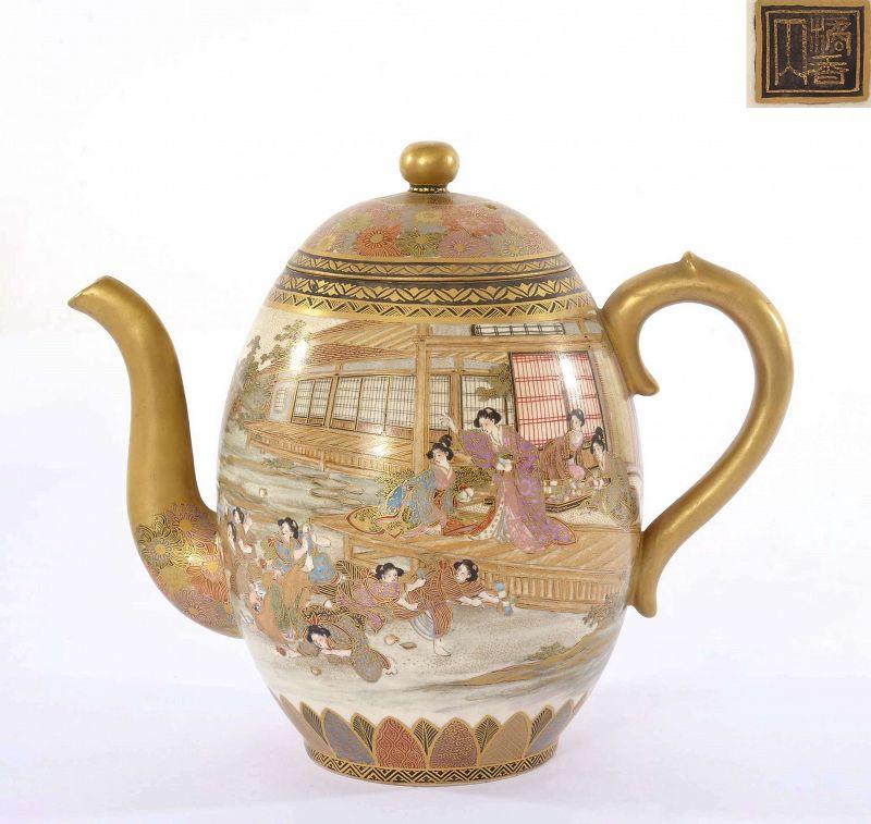 "Old Japanese Satsuma Teapot Geisha Marked ""橘香山"""