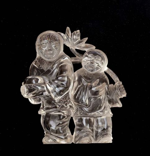 Old Chinese Rock Crystal Carved Carving Twin Boy Figure