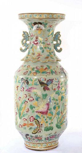 Lg 19C Chinese Celadon Famille Rose Medallion Porcelain Vase
