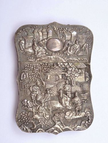 Old Chinese Sterling Silver Card Case Scholar Figurine Figure