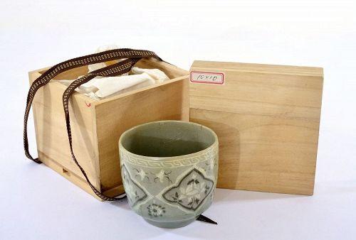 13C Korean Koryo Dynasty Slip-Inlaid Celadon-Glazed Tea Cup