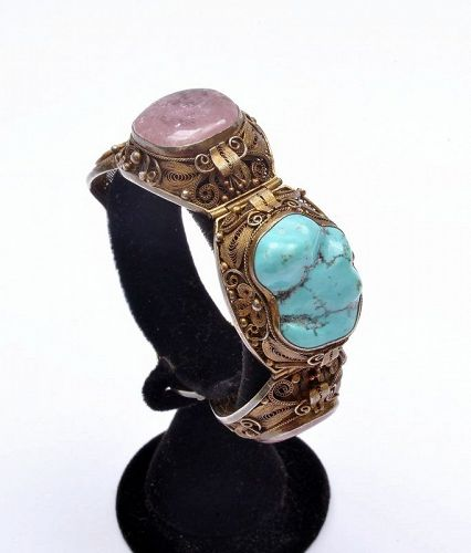 Chinese Gilt Silver Tourmaline Turquoise Carved Bead Bracelet Bangle