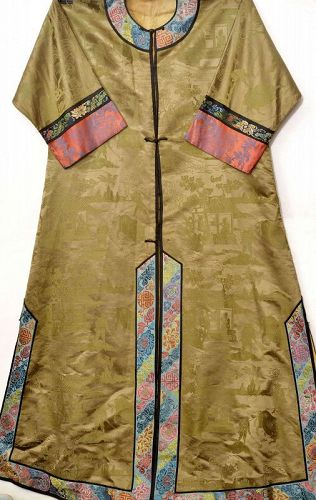 Old Chinese Silk Brocade Embroidery Lady's Robe Farmer Water Buffalo
