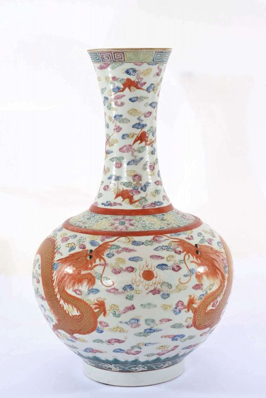 Old Chinese Famille Rose Iron-Red Glazed Dragon Vase Guangxu Mark