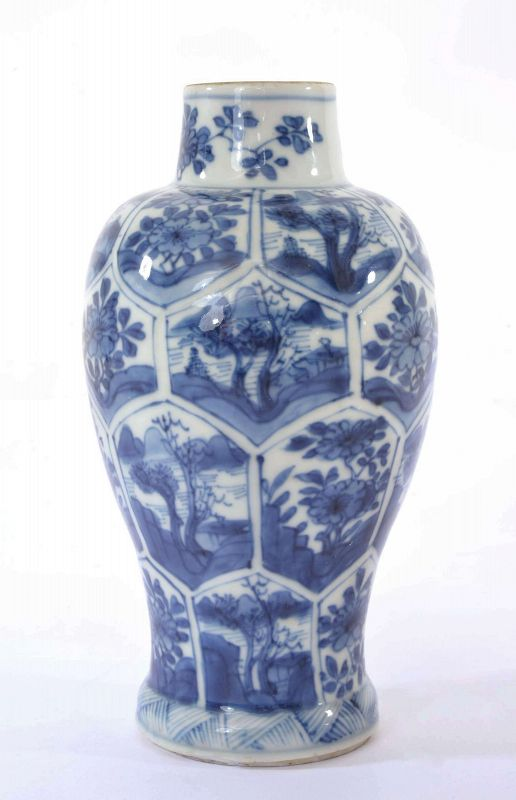 17C Kangxi Chinese Blue & White Porcelain Vase Flower