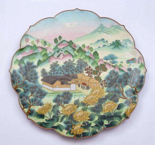 Chinese Culture Revolution Cloisonne Enamel Plate Mountain Scene