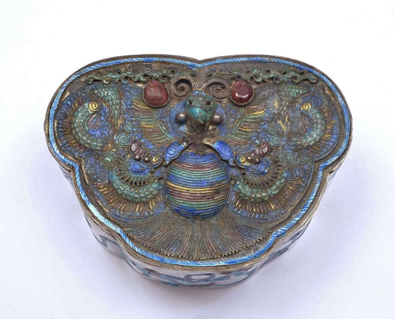 Old Chinese Silver Enamel Butterfly Moth Box Marked