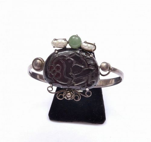 Chinese Solid Silver Cherry Amber Carved Carving Bangle Bracelet Bird