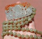 Chinese Icy Jade Jadeite Carved Carving Bead &  Pendant Necklace Bird