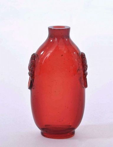 Late 18C Ruby Red Peking Glass Snuff Bottle