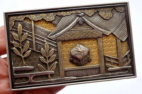 Old Japanese Gilt Silver Presentation Box