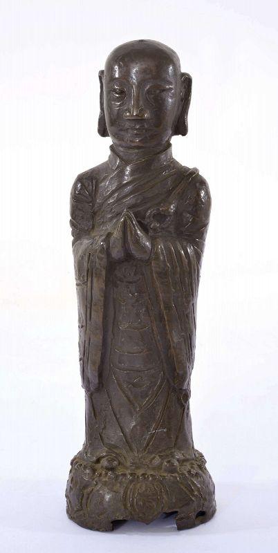 17C Chinese Bronze Buddha Monk Figure Figurine 2072 Gram