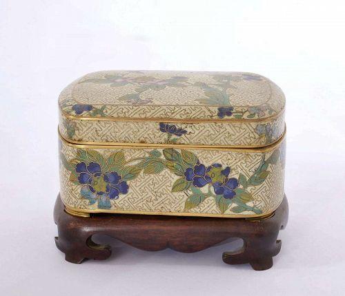 19C Japanese Cloisonne Box Hayashi Tanigoro Wood Stand Chinese Style