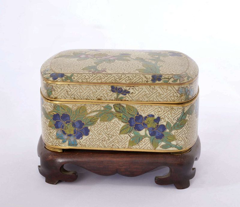 19C Chinese Cloisonne Jewelry Box Flower Plum Wood Stand Mk