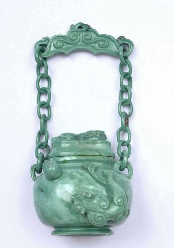 Chinese Turquoise Carved Carving Dragon Snuff Bottle