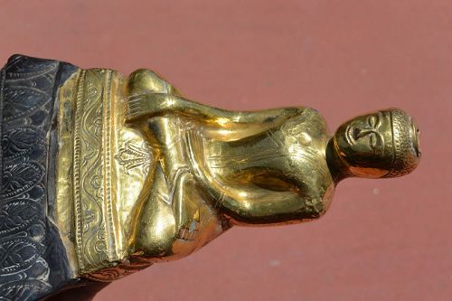 18C Thai Buddha Figurine Clay Core Overlaid by 22ct Gold and Silver