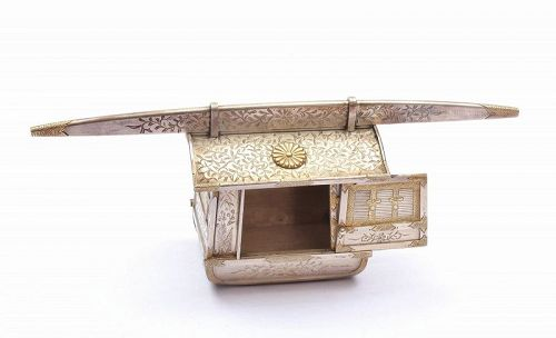 Old Japanese Silver and Gold Imperial Presentation Box Sedan Chair
