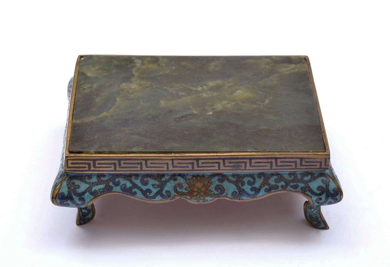 Chinese Cloisonne Enamel Scholar Table Stand with Spinach Jade Inlay