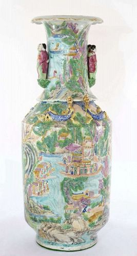 Lg 19C Chinese Famille Rose Medallion Porcelain Vase