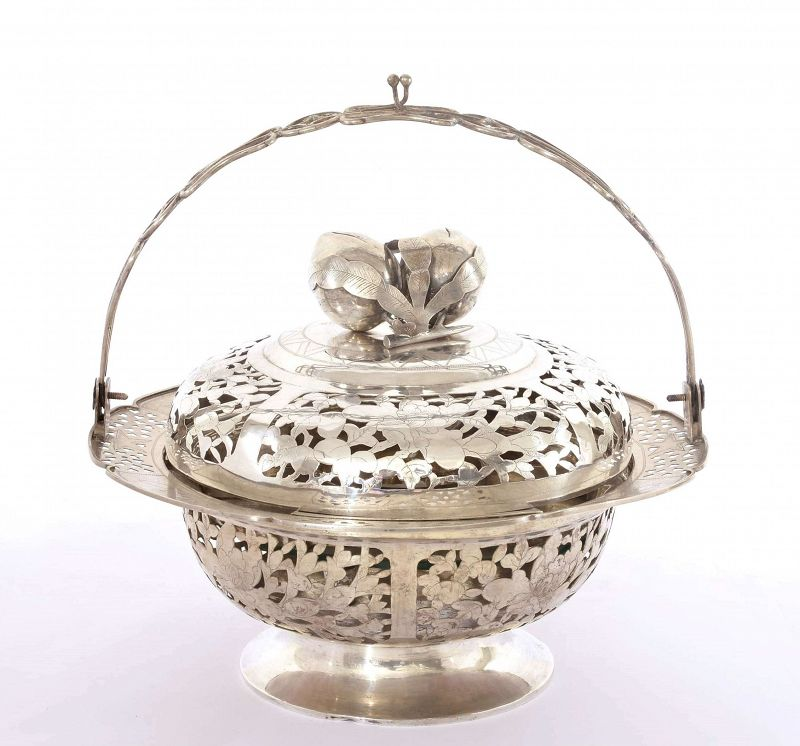 Chinese Sterling Silver Sweetmeat Tray Basket Box Peach Finial Mk