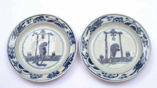 16C Chinese Export Ko-sometsuke Blue & White Plate Dish Parrot Bird