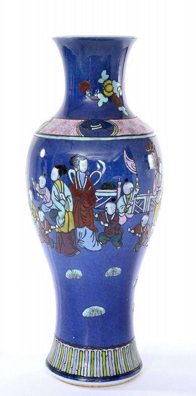 Chinese Famille Rose Powder Blue Enameled Porcelain Vase Figure
