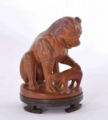 Old Chinese Boxwood Carved Carving Beast & Cub Figurine Wood Stand