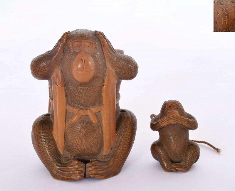Meiji Japanese Boxwood Carved Inro Netsuke 2 Evil Monkey Sg