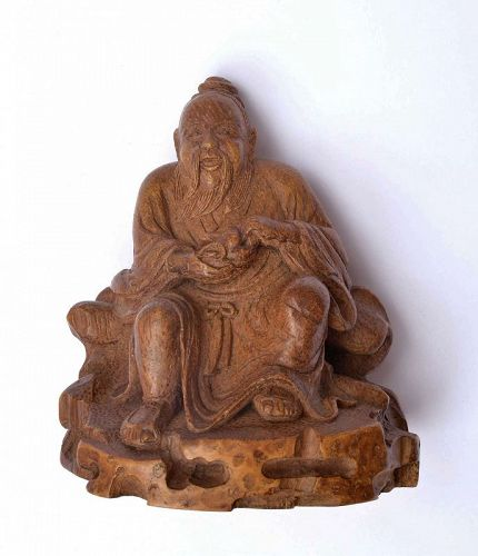 19C Chinese Bamboo Carved Carving Old Man Figurine