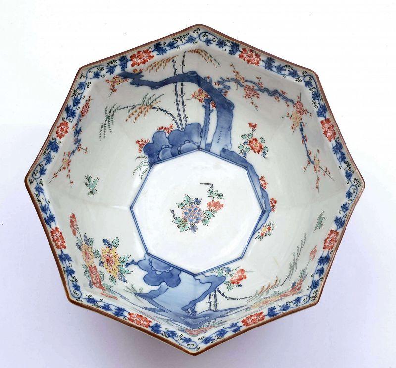 Japanese Arita Imari Kakiemon Studio Porcelain Bowl Phoenix & Flower