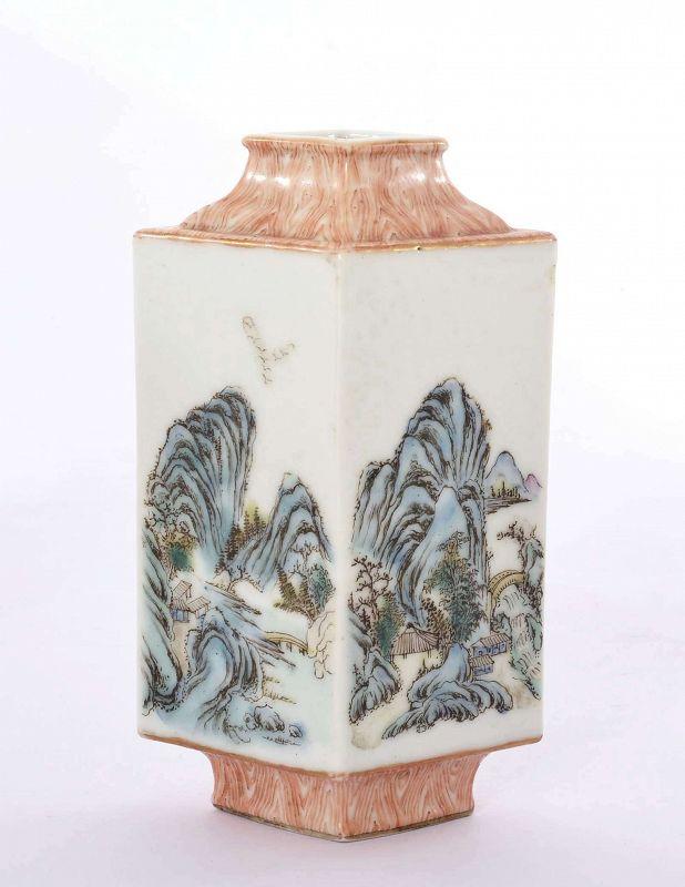 Old Chinese Famile Rose Porcelain Vase Marked