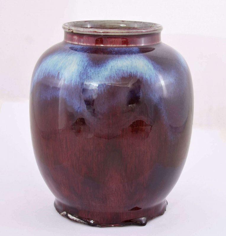 Old Chinese Flambe Ox Blood Oxblood Sang Boeuf Langyao Style Vase Jar