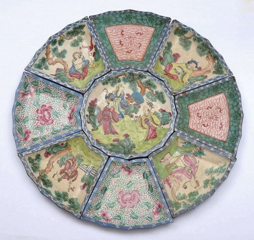 Chinese Yixing Zisha Enamel Pottery Sweetmeat Dish 8 Immortal Figurine