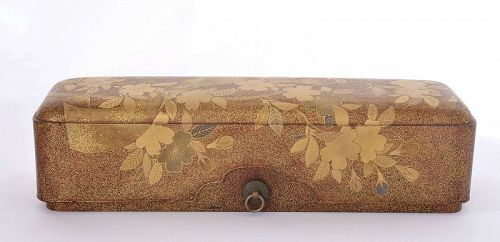 19C Japanese Makie Lacquer Wood Carved Carving Box