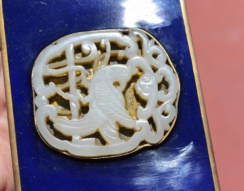 19C Chinese Enamel Box with White Jade Carved Carving Plaque Bird