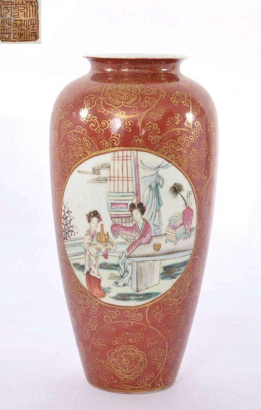 Old Chinese Gilt Coral Red Famille Rose Porcelain Vase Court Lady Mk