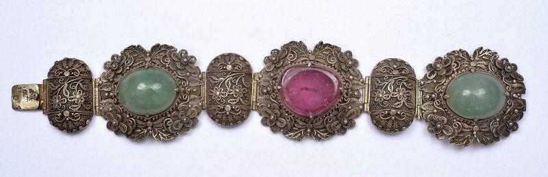 Chinese Silver Filigree Tourmaline Jadeite Carved Plaque Bracelet Mk