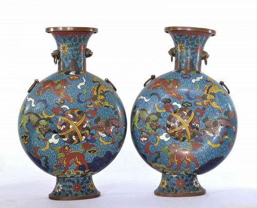 2 19C Chinese Cloisonne Enamel Moon Flask Vase Foo Fu Dog Lion