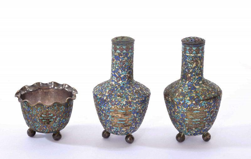 Old Chinese Gilt Silver Enamel Salt & Pepper Set Calligraphy