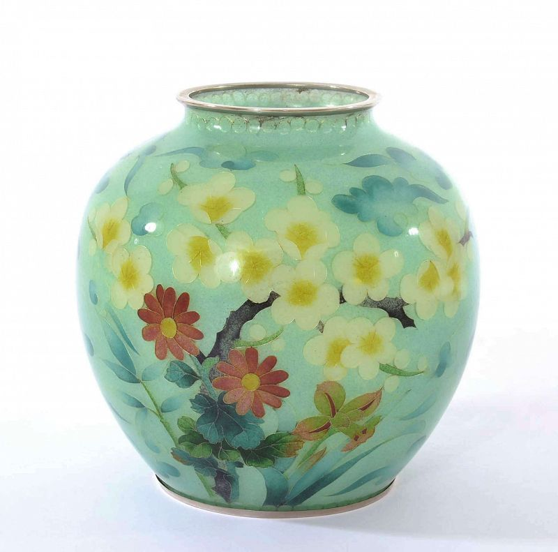 Old Japanese Plique a Jour Cloisonne Enamel Shippo Vase Flower