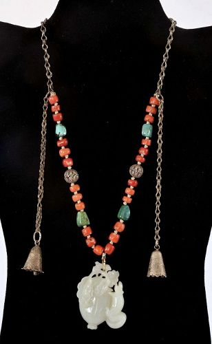 Old Chinese Silver White Jade Pendant Turquoise Coral Bead Necklace