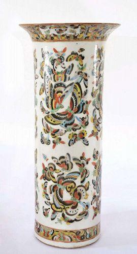 Chinese Export Famille Rose Medallion 1000 Butterfly Porcelain Vase