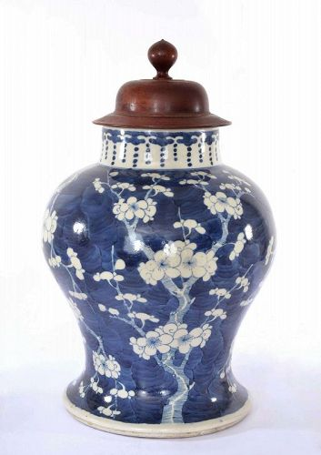 17C Chinese Kangxi Blue & White Porcelain Plum Blossoms Baluster Jar
