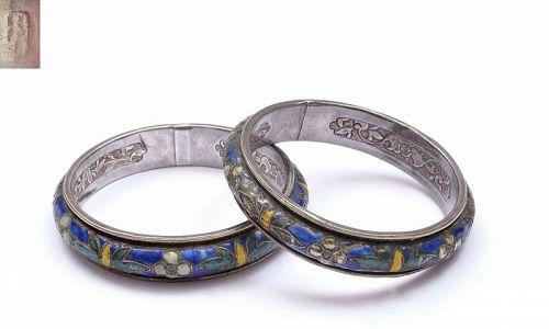 Pair of Old Chinese Silver Enamel Bracelet Bangle Flower Marked